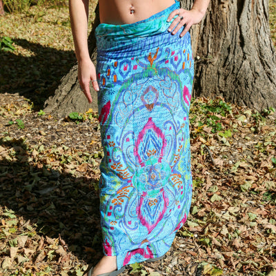 Blue Metallic Embroidered Cotton Sarong Boho Beach Wrap Gypsy Swimsuit Cover Up
