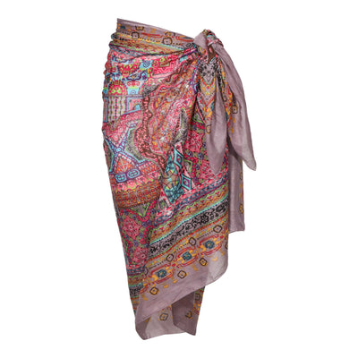 Geometric Metallic Embroidered Cotton Sarong Boho Beach Wrap Gypsy Bikini Cover