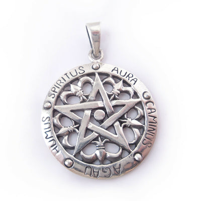 5 Elements Pentagram .925 Solid Sterling Silver Pendant Gothic Charm Protection