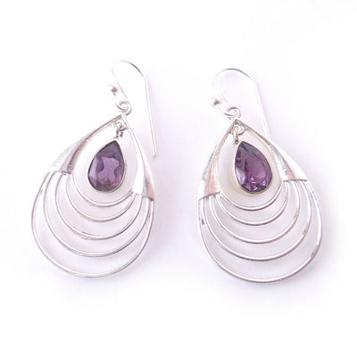 Amethyst .925 Solid Sterling Silver Chandelier Earrings Jewelry Gift