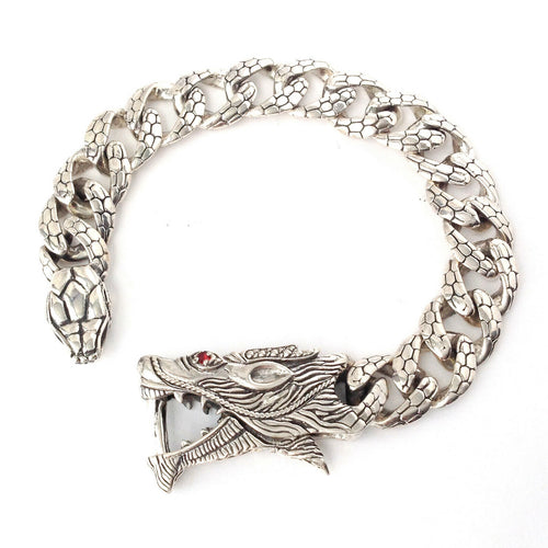 Dragon Bracelet Solid .925 Sterling Bali Silver Garnet Eye Bangle Jewelry Gift