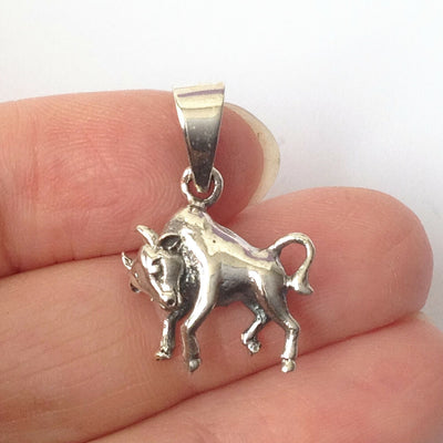 Taurus.925 Solid Sterling Silver Horoscope Pendant Zodiac Symbol Charm Gift