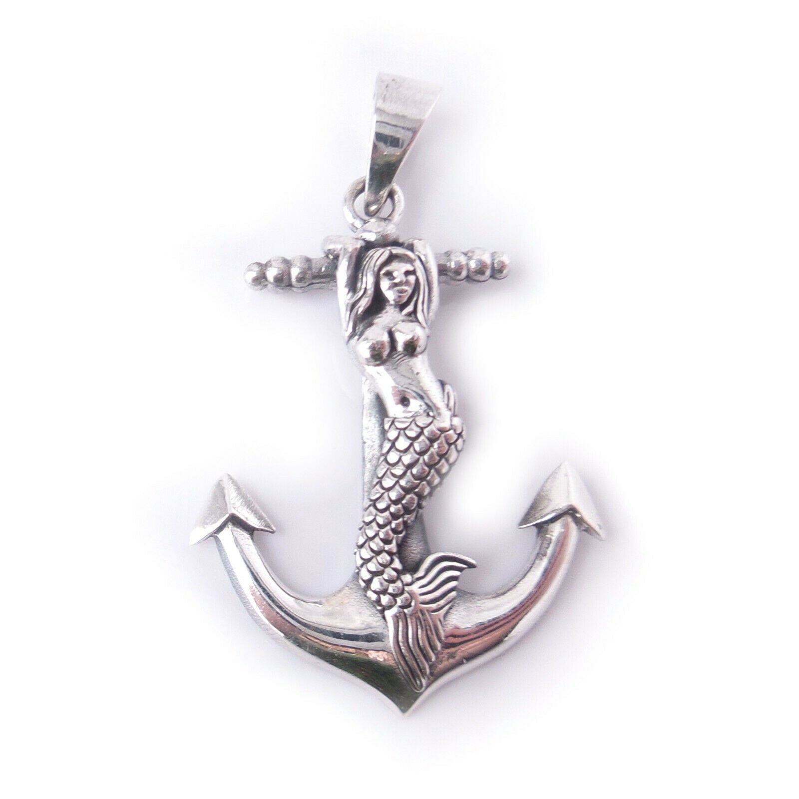 Mermaid on Anchor .925 Solid Sterling Silver Nautical Charm Pendant Ocean Gift