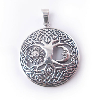 Tree of Life .925 Sterling Silver Pendant Celtic Knot Moon Sun Celestial Gift