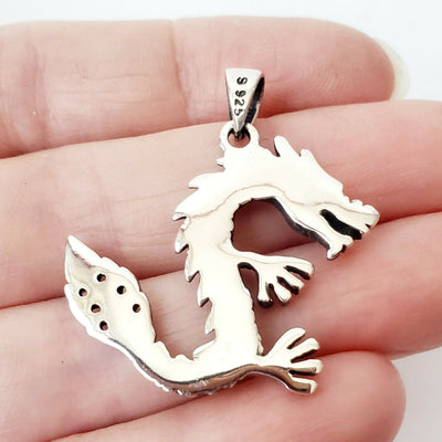 Dragon Amulet .925 Sterling Silver Pendant Protection Charm Gift for Dad