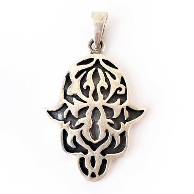 Hamsa .925 Sterling Silver Pendant Protection Amulet Khamsa Charm Gift for Mom
