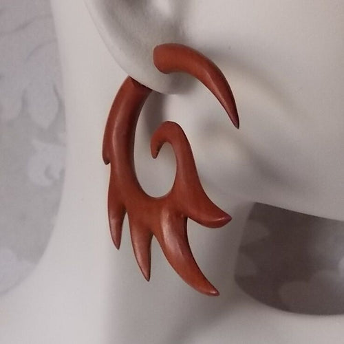 Pair of Tribal Fake Gauge Earrings Organic Wood Split Expander Tattoo Jewelry