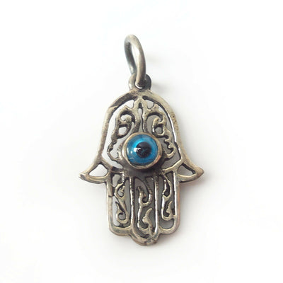 Hamsa .925 Sterling Silver Pendant Khamsa Protection Eye Good Luck Charm Gift