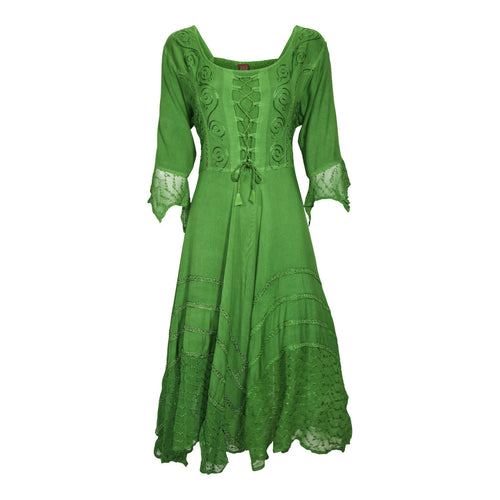 Bright Green Embroidered Renaissance Festival Dress Flowy Rayon Boho Party Gown
