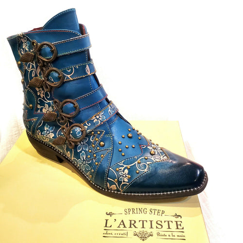 L'Artiste Rodeha Teal Blue Cowboy Bootie Boho Chic Shoes Up to 44