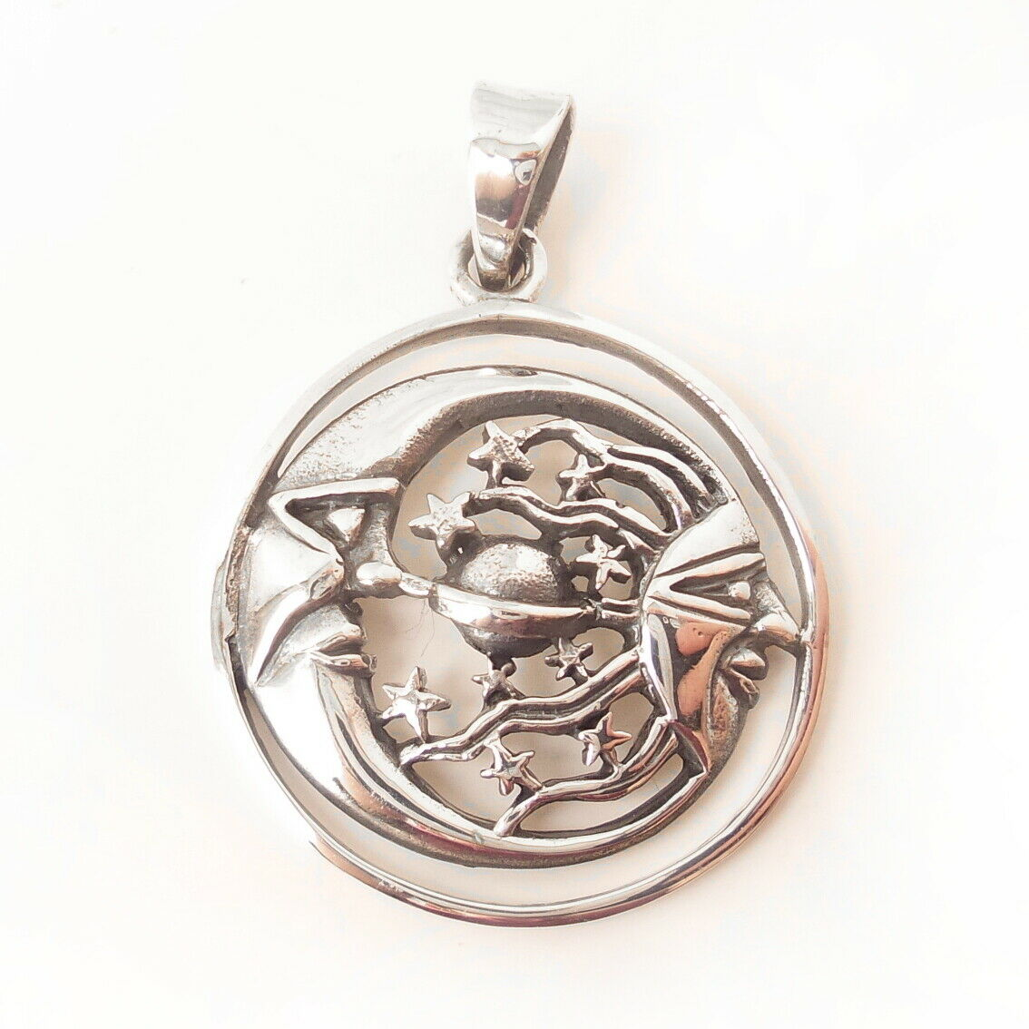 Celestial Moon Sun Stars .925 Sterling Silver Pendant Graduation Gift Charm