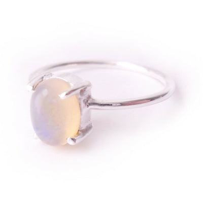 Size 8 Opal .925 Solid Sterling Silver Cocktail Ring Boho Chic Jewelry Gift