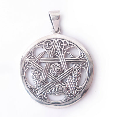 Pentagram Crescent Moon .925 Solid Sterling Silver Pendant Celtic Knot Charm