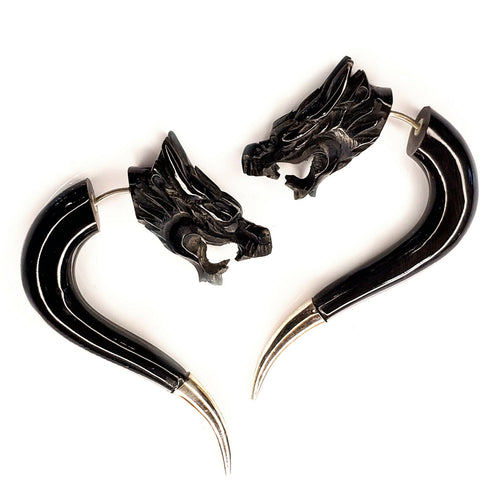 Carved Dragon Split Gauge Earrings Faux Plug Black Gothic Halloween Jewelry Gift