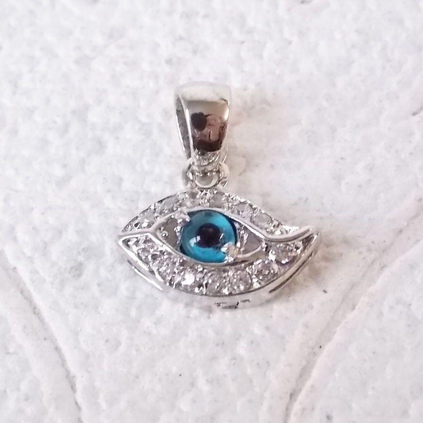 Protection Charm .925 Sterling Silver Pendant Mini Evil Eye Good Luck Gift