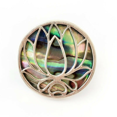 Sz 7 Lotus .925 Sterling Silver Abalone Ring