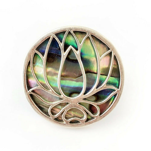 Sz 7 Lotus .925 Sterling Silver Abalone Ring Meditation Amulet Gift for Yoga Mom