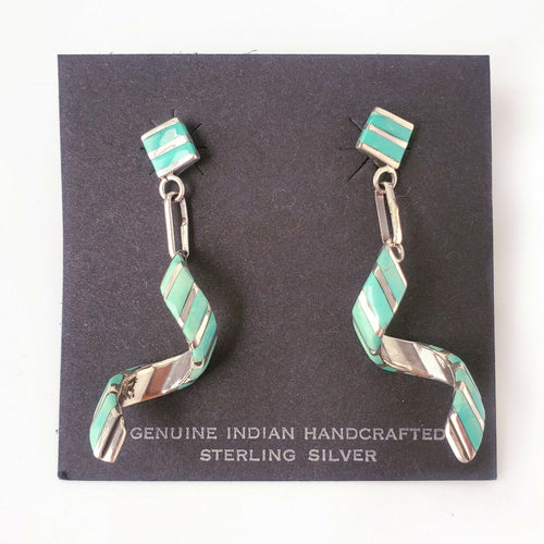 Spiral Zuni Native American Turquoise .925 Solid Sterling Silver Drop Earrings