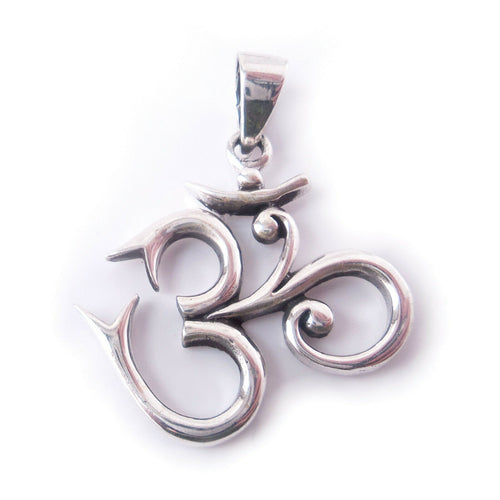 Ohm .925 Solid Sterling Silver Pendant Buddhist Yoga Meditation Gift for Yogi