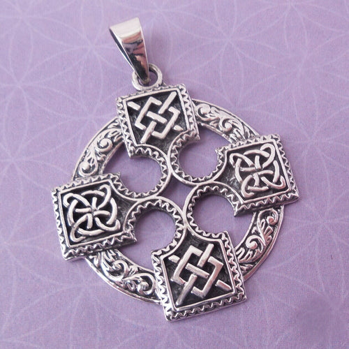 Viking Solar Cross Amulet .925 Solid Sterling Silver Charm Celtic Knot Pendant