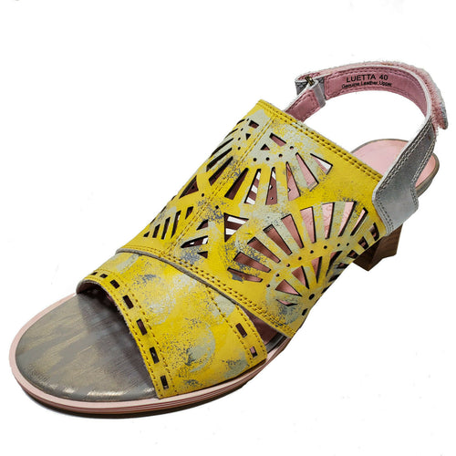 L'Artiste Yellow Leather High Heel Sandal Boho Chic Shoes Luetta Sz 38 39 40 41
