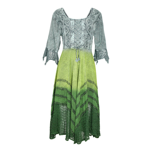 Gray Green Embroidered Renaissance Festival Dress Flowy Rayon Party Gown