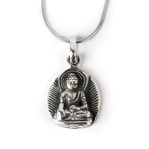 Buddha .925 Solid Sterling Silver Pendant Buddhist Amulet Gift Charm Necklace