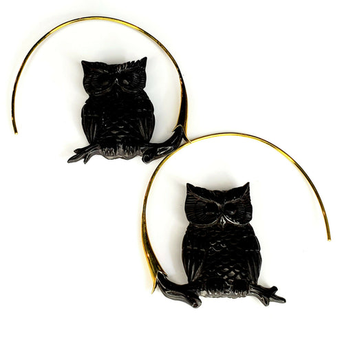 Owl Hoop Earrings Carved Black Buffalo Horn Bird Jewelry Gift