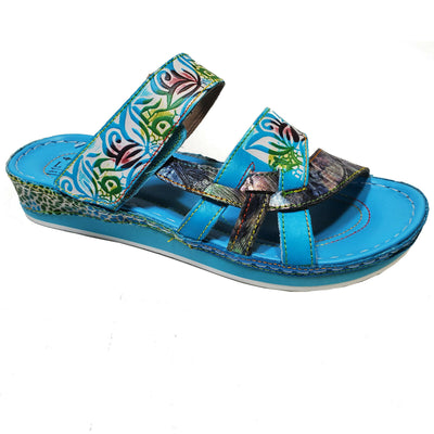 L'Artiste Turquoise Blue Leather Slide Sandal