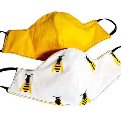 Reversible Honey Bee Triple Layer Cotton Face Mask