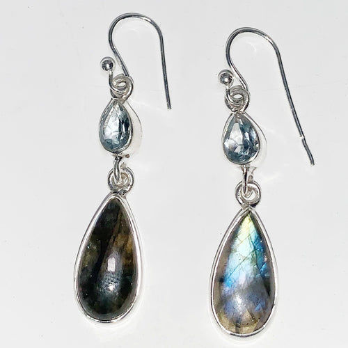 Labradorite and Turquoise Sterling Silver Earrings