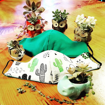 Reversible Succulents Triple Layer Face Mask