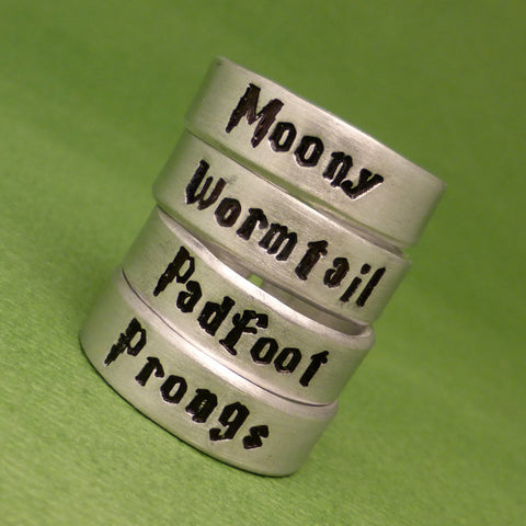 Harry Potter Inspired - Choose ONE - Moony, Wormtail, Padfoot or Prongs - A Hand Stamped Aluminum Ring
