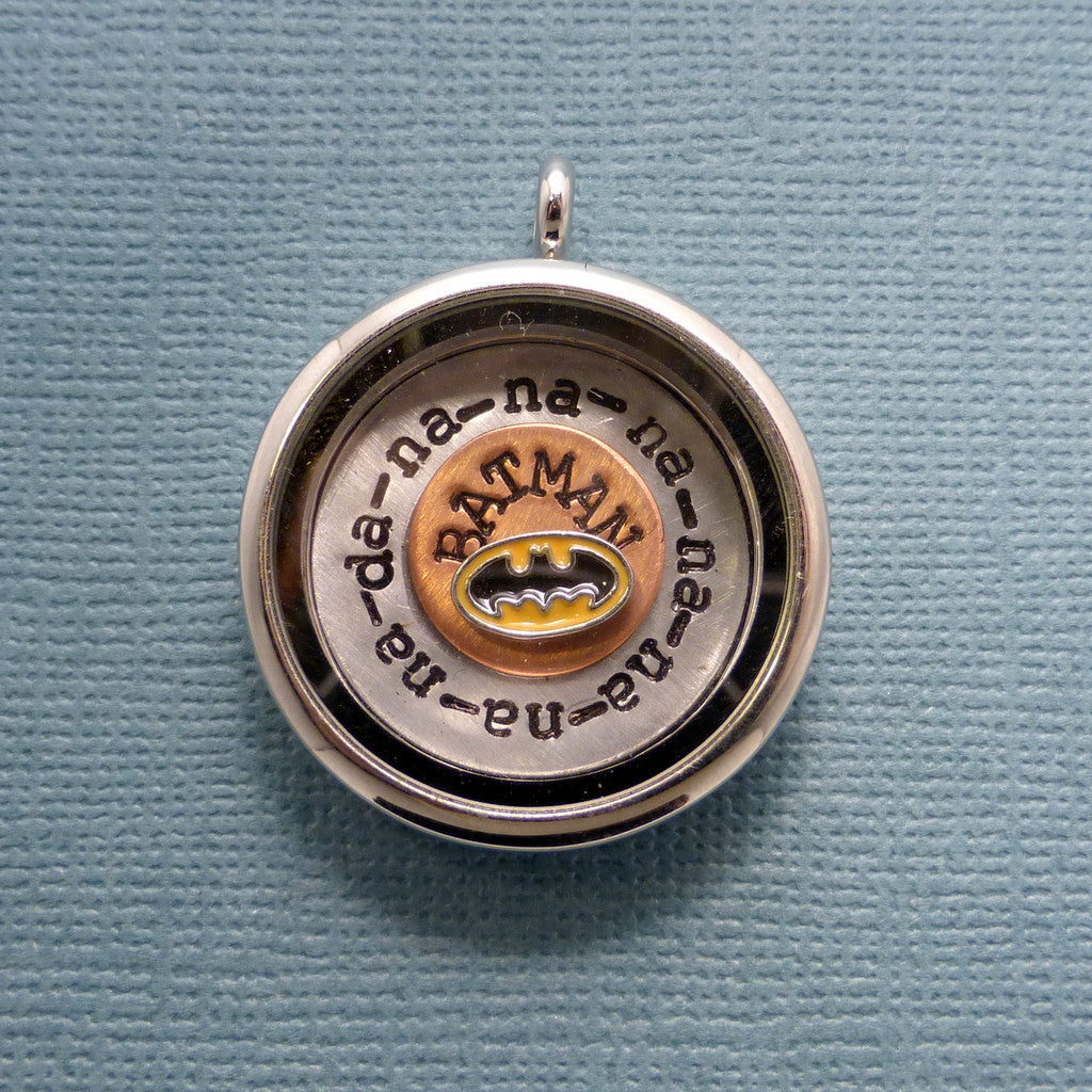 Batman Inspired - da-na-na-na-na-na...BATMAN - A Floating Locket / Memory Locket / Living Locket