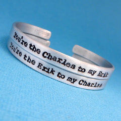 X-Men Inspired - You're the Charles to my Erik & the Erik to my Charles - A Set of 2 Hand Stamped Bracelets in Aluminum or Sterling Silver