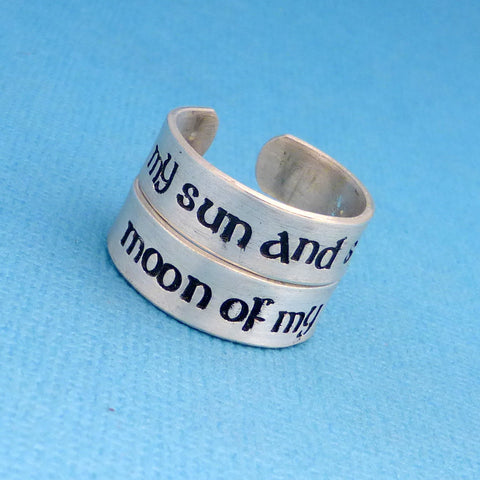 Game of Thrones Inspired - My Sun and Stars & Moon of My Life - A Set of 2 Hand Stamped Sterling Silver Rings