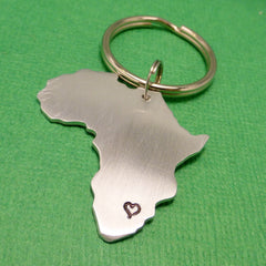 My heart belongs in Africa - A Hand Stamped Aluminum Keychain