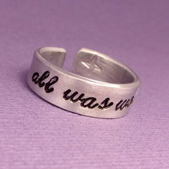 Harry Potter Inspired - all was well - A Hand Stamped Aluminum Ring