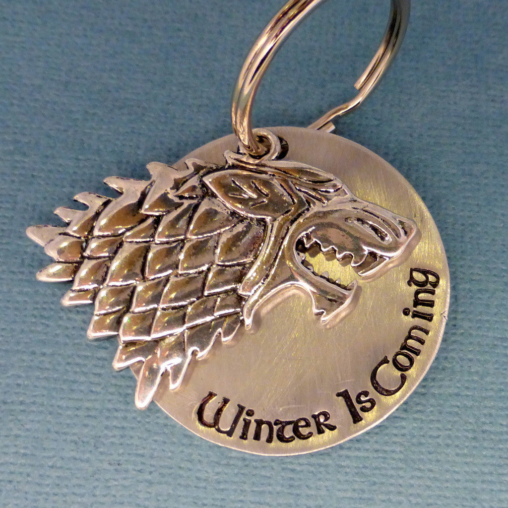 Game Of Thrones Inspired - Winter Is Coming - A Hand Stamped Keychain in Aluminum or Copper