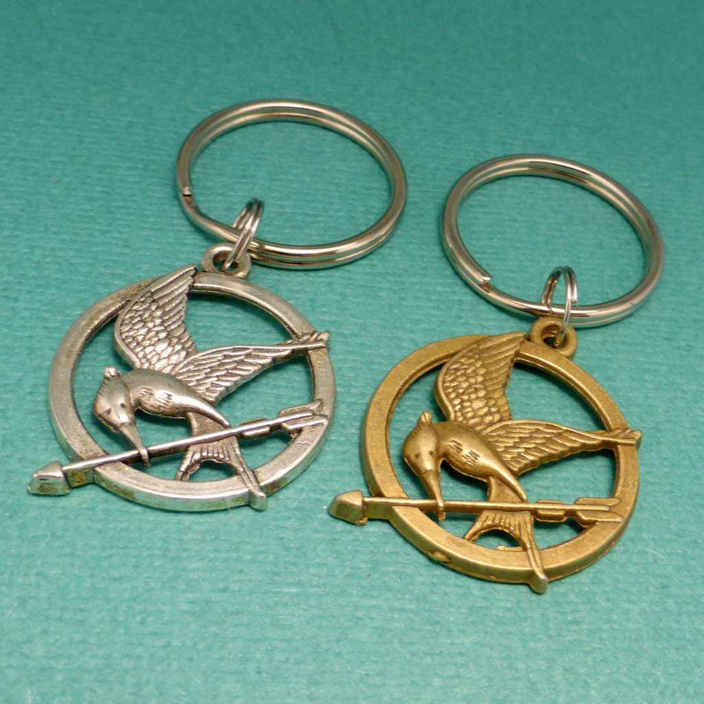 The Hunger Games Inspired - Mockingjay Keychain or Necklace