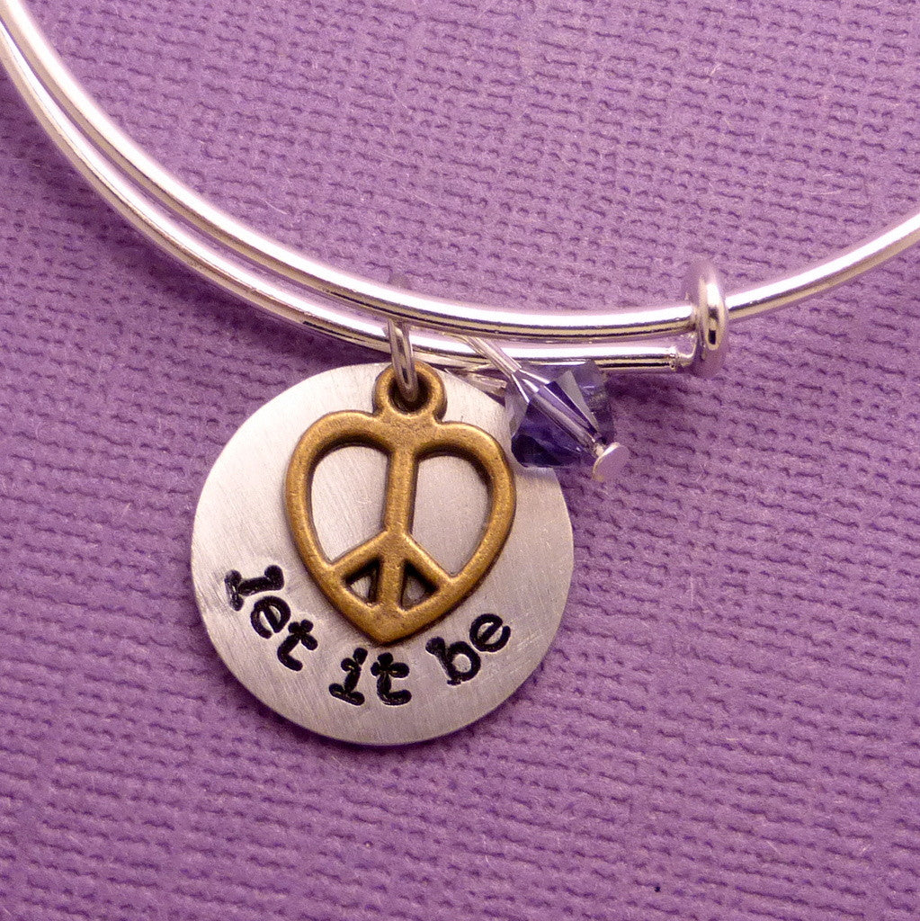 The Beatles Inspired - let it be - Adjustable Bangle Bracelet