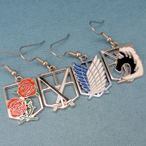 Attack on Titan Inspired - Cadets, Survey Corps, Military Police Brigade & the Garrison Regiment - Enameled Earrings