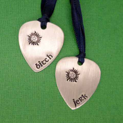 SHOP EXCLUSIVE - Supernatural Inspired - Bitch & Jerk - A Set of 2 Hand Stamped Aluminum Guitar Pick Ornaments