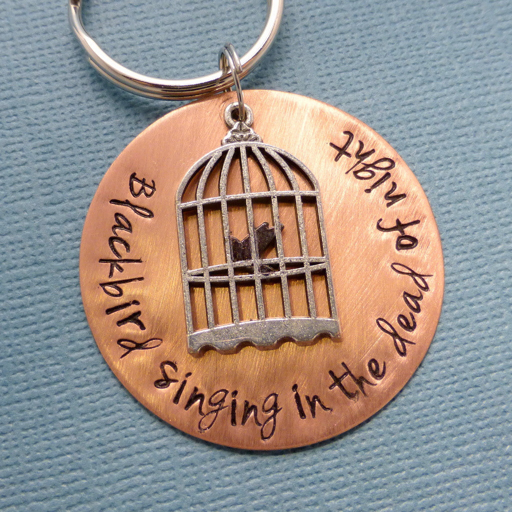 The Beatles Inspired - Blackbird singing in the dead of night - A Hand Stamped Keychain