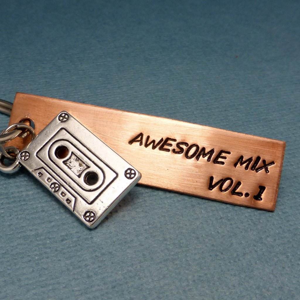 Guardians of the Galaxy Inspired - Awesome Mix Vol. 1 - A Hand Stamped Keychain in Aluminum or Copper w/ Cassette charm