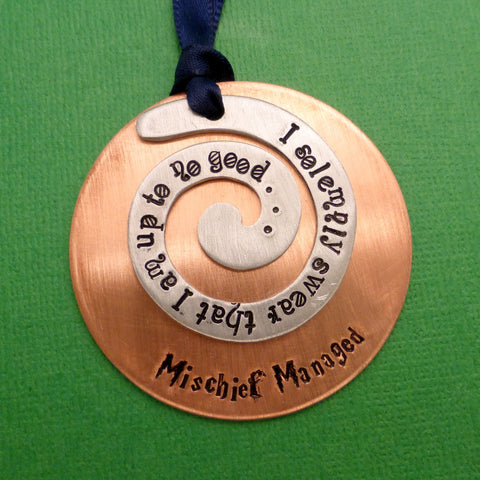 Harry Potter Inspired - I Solemnly Swear That I Am Up To No Good. Mischief Managed - A Hand Stamped Ornament