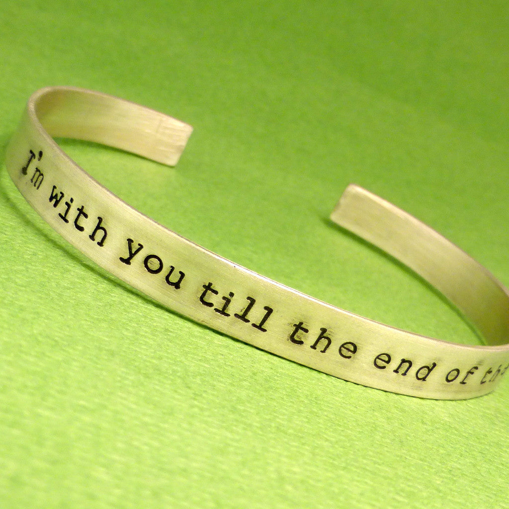 Personalized Custom Hand Stamped on TWO SIDES 1/4 inch Sterling Silver Cuff Bracelet