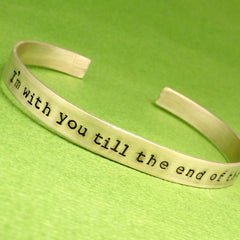 Personalized Custom Hand Stamped on ONE SIDE 1/4 inch Sterling Silver Cuff Bracelet