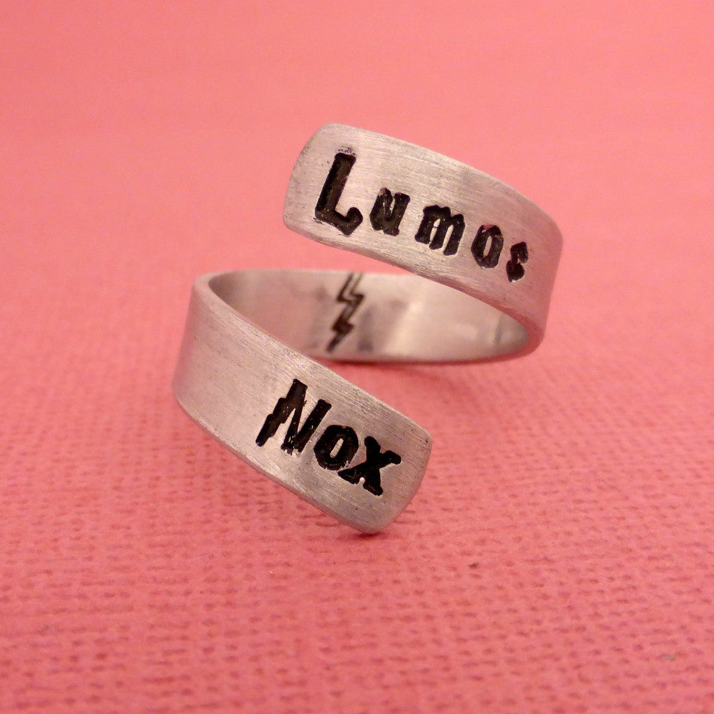 SHOP EXCLUSIVE - Harry Potter Inspired - Lumos Nox - A Hand Stamped Aluminum Wrap Ring
