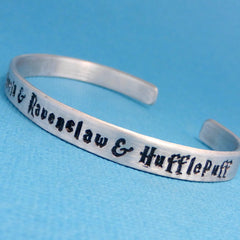 SHOP EXCLUSIVE FONT - Harry Potter Inspired - Gryffindor and Slytherin and Ravenclaw and Hufflepuff - A Hand Stamped Bracelet